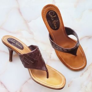 Cole Haan Brown Leather Square Toe Mule Sandals